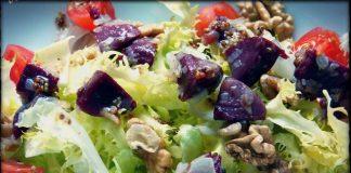 Ensalada templada de mollejas de pato confitadas con vinagreta de mostaza
