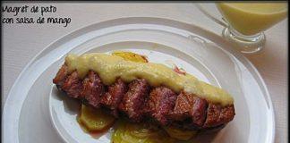Magret de pato con salsa de mango