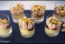 Txupito de bloc de foie con manzana y pistachos