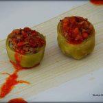Alcachofas de Tudela rellenas de txistorra y champiñones