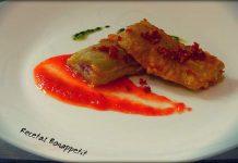 Pencas rellenas de jamón con salsa de tomate