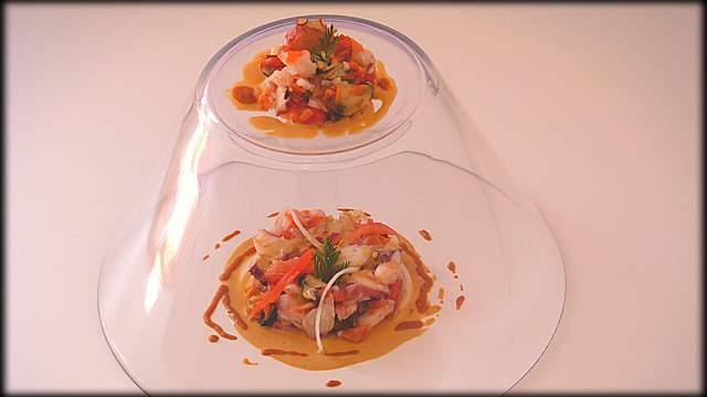 Salpicon de marisco con alioli de mejillones