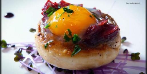 Champiñon con huevo de codorniz al horno recetasbonappetit
