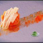 Tartar de tomate y ventresca con vinagreta de mango y confitura de pimiento