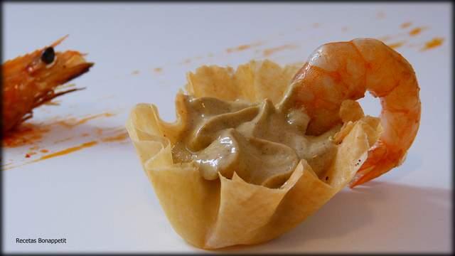 pasta filo de langostinos y mejillones