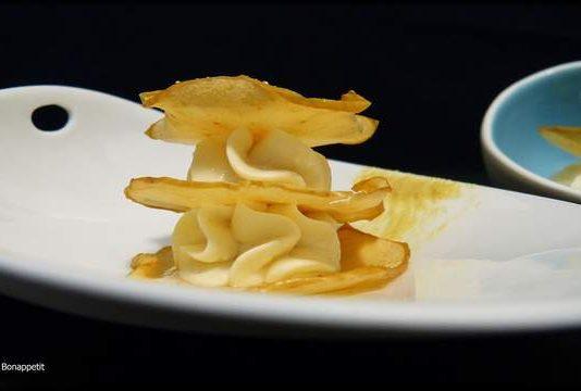 Milhojas de manzana con mostaza y miel