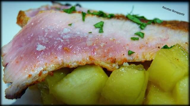 Secreto iberico con manzana