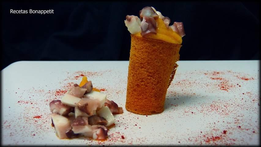 Pulpo con puré de patata y pimentón