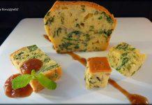 Plum cake salado de esparagos y setas con salsa de Oporto