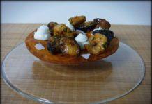 Tortitas de maiz con setas, gambas y mahonesa de wasabi